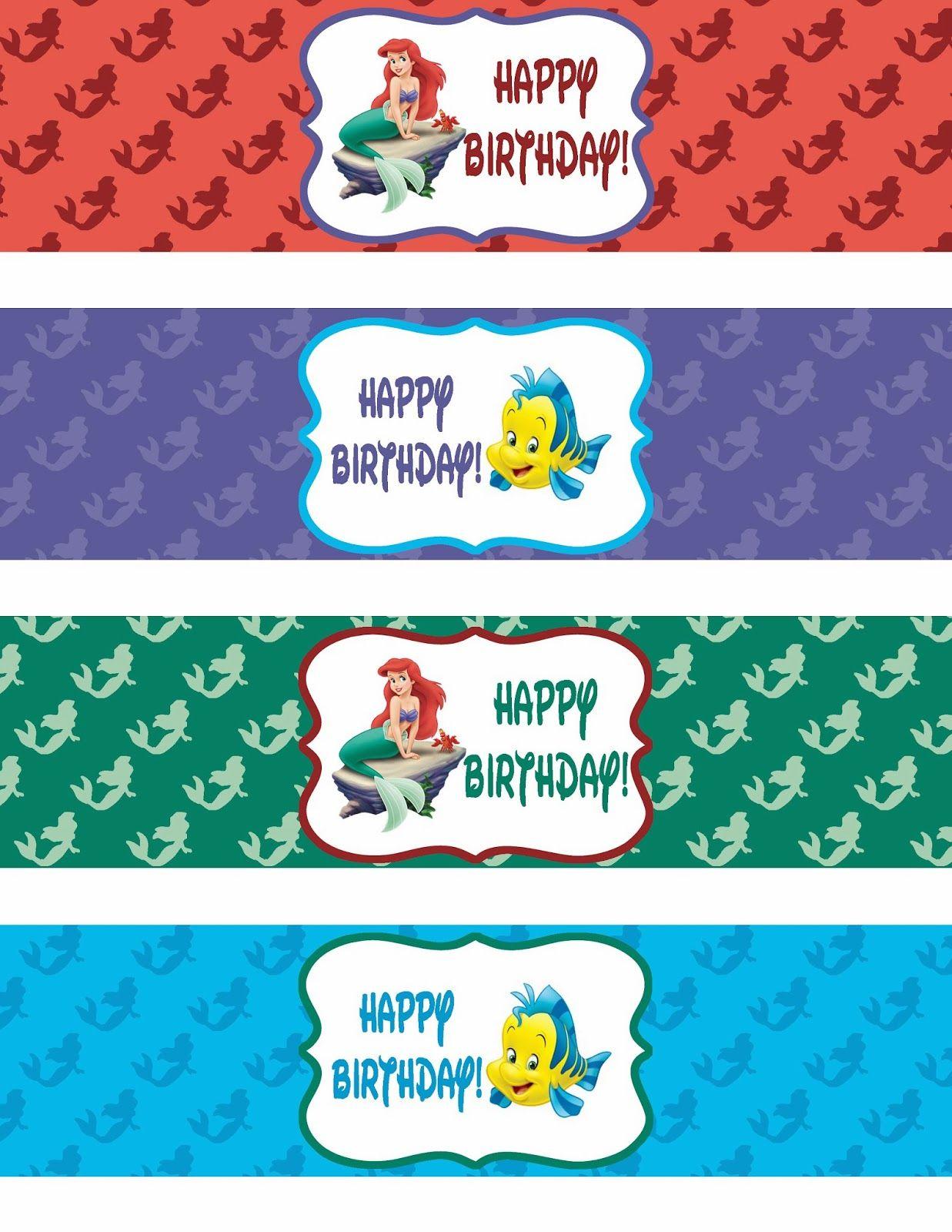 Pinroxy Pelonia On Zoe's 1St Bday | Pinterest | Mermaid Happy - Free Printable Little Mermaid Water Bottle Labels