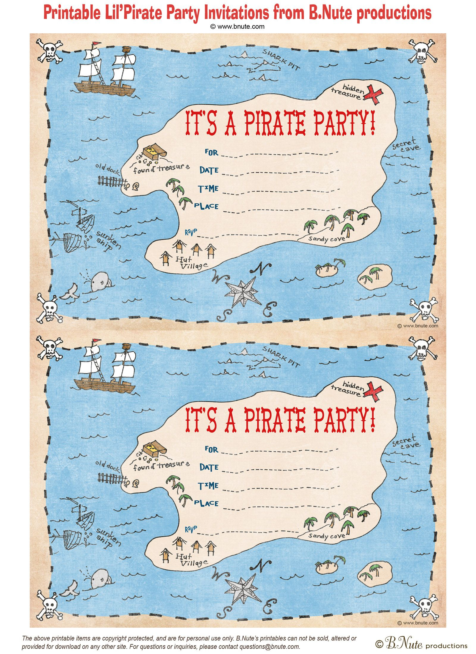Pintara Hunter On Party Ideas | Pinterest | Pirate Party - Blue's Clues Invitations Free Printable