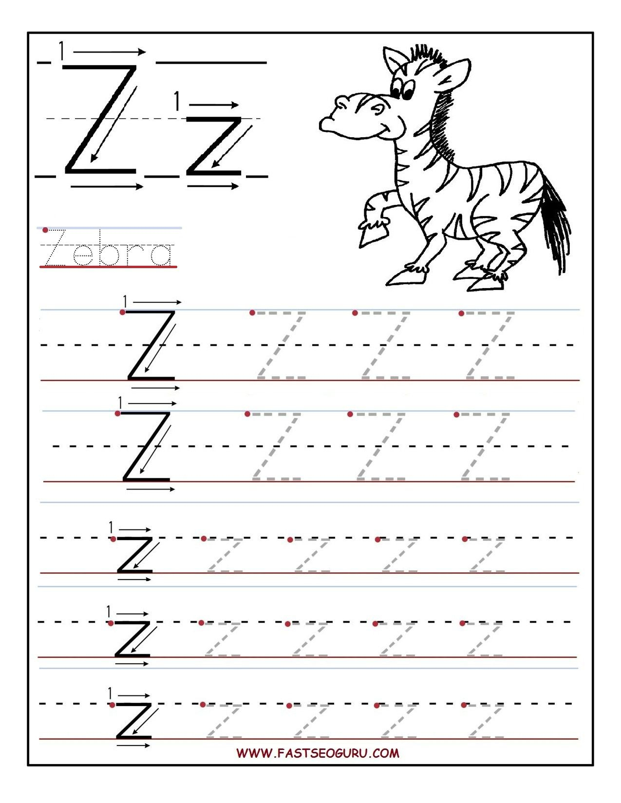 Pinvilfran Gason On Decor | Letter Tracing Worksheets, Alphabet - Letter Z Worksheets Free Printable
