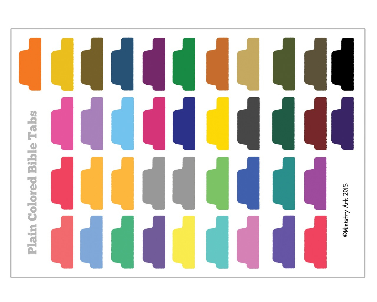Plain Colored Bible Tabs • Ministryark - Free Printable Bible Tabs