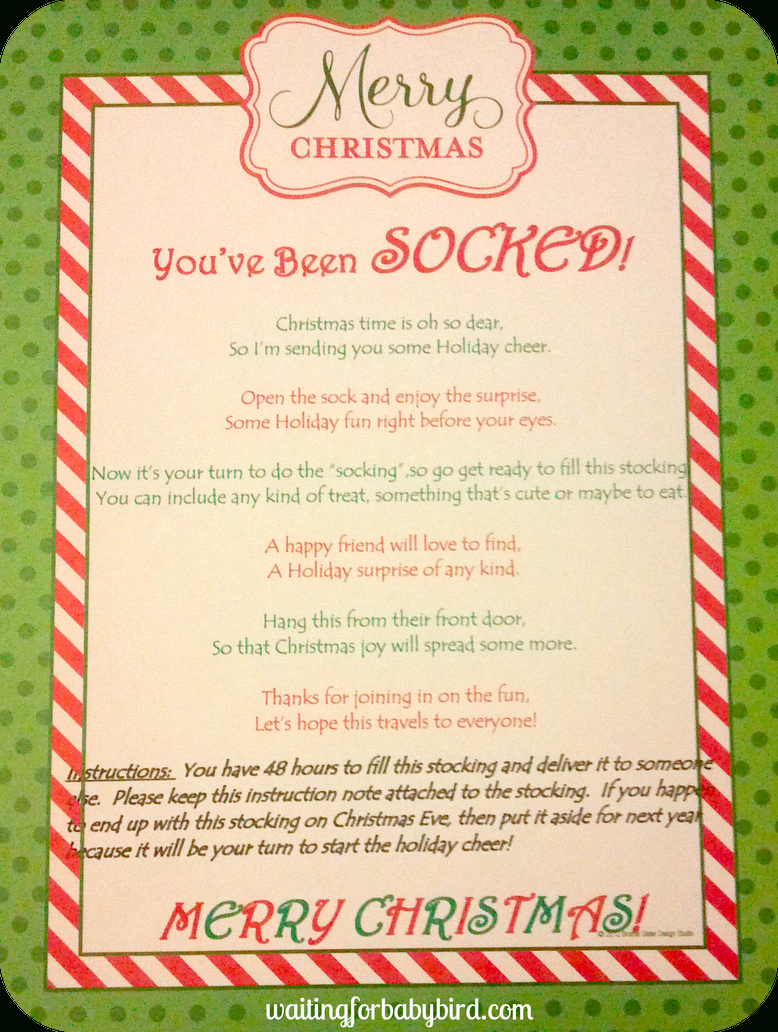 Poem You've Been Socked | The Holiday's | Pinterest | Christmas - You Ve Been Socked Free Printable