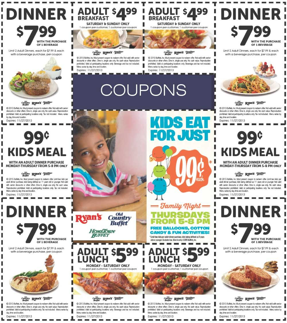Poinned November 7Th: $6 Buck Lunch And More At Old #country Buffet - Old Country Buffet Printable Coupons Buy One Get One Free