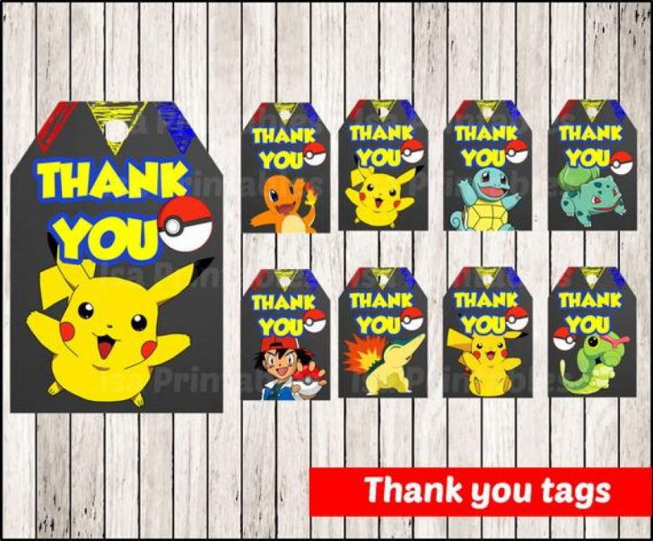 Free Printable Pokemon Thank You Tags