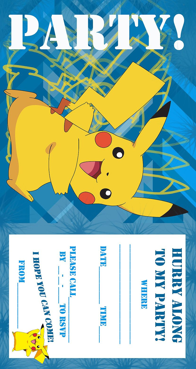 Pokemon Coloring Pages: Birthday Party Invitation Free And Printable - Free Printable Pokemon Birthday Invitations