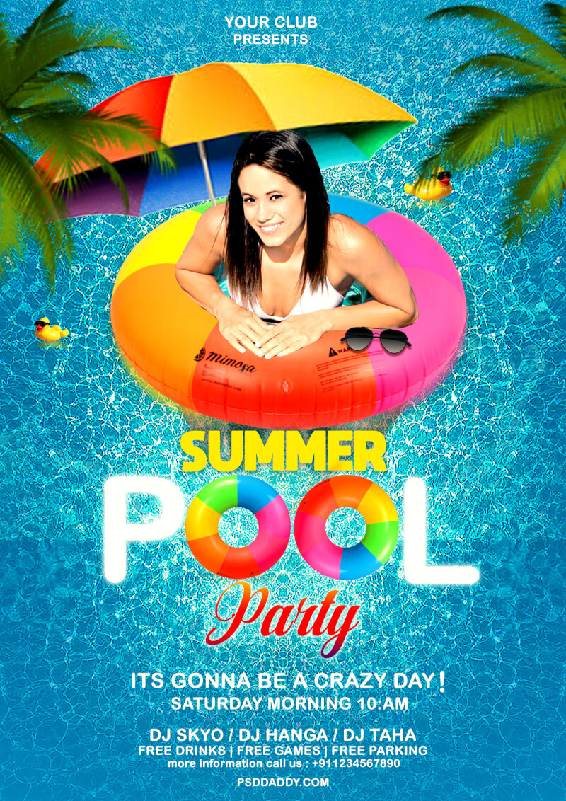 Pool Party Flyer Psd Template | Psddaddy - Pool Party Flyers Free Printable