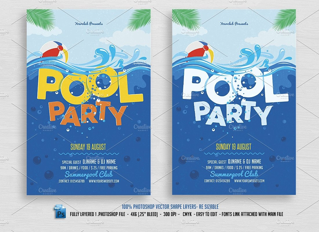 Pool Party Flyer Template Free Templates 21 Invitations Psd - Pool Party Flyers Free Printable