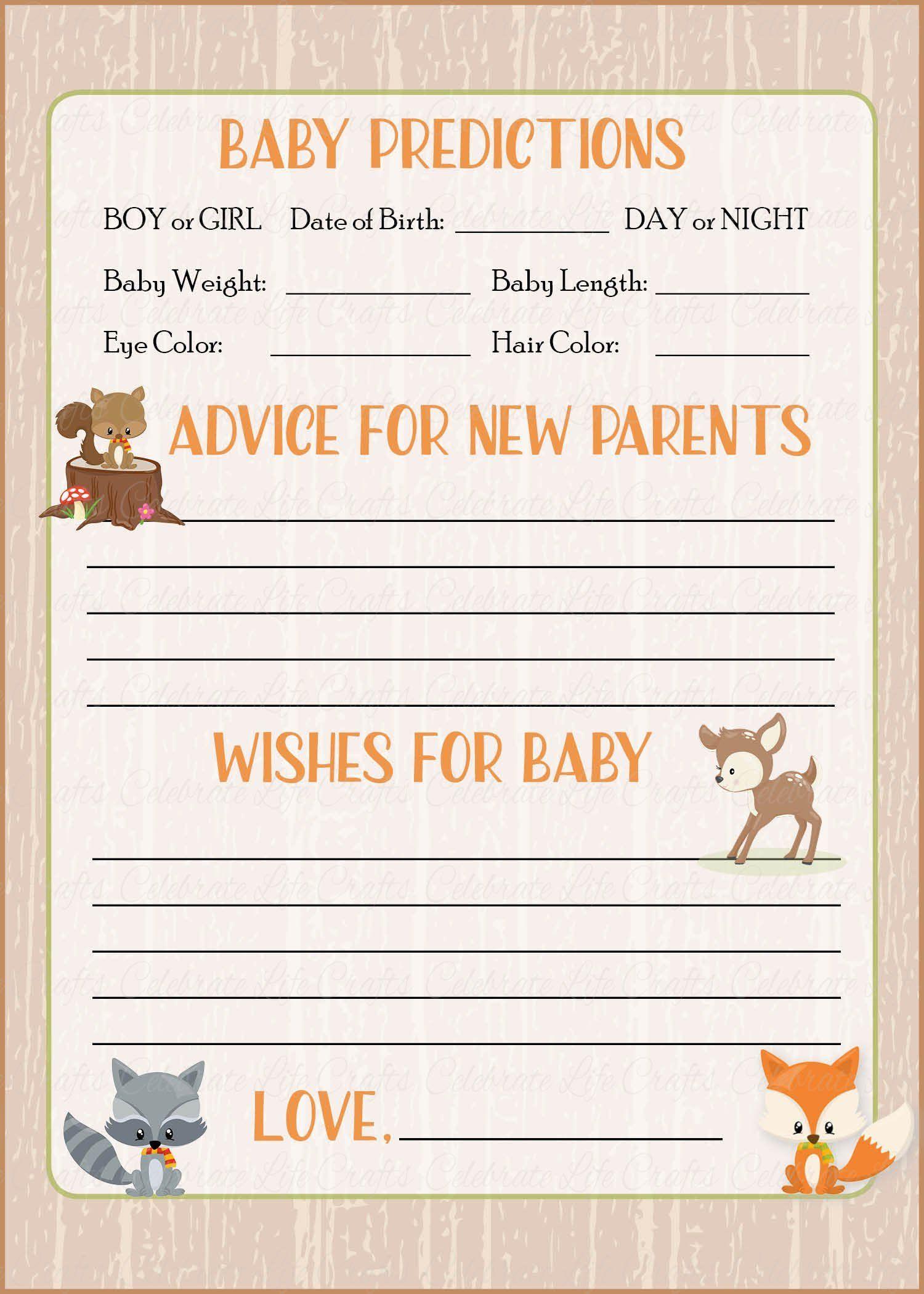 Prediction & Advice Cards - Printable Download - Forest Animals - Baby Prediction And Advice Cards Free Printable