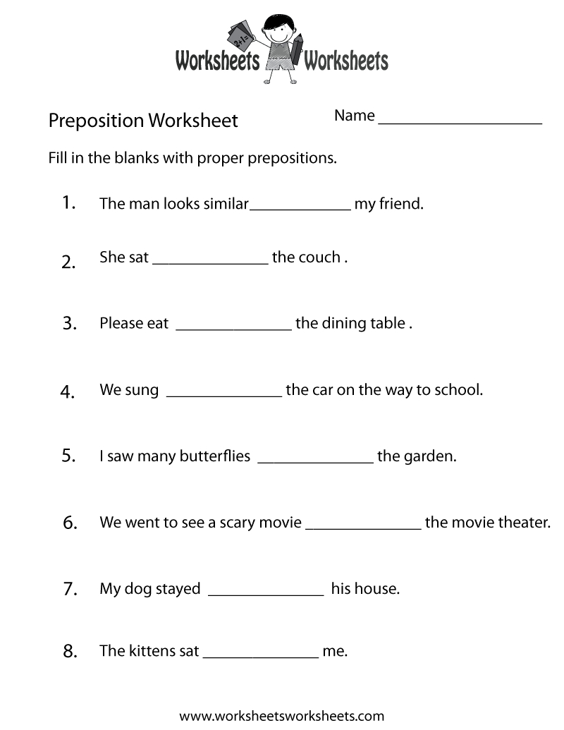 Preposition Worksheets | Two Ways To Print This Free Prepositions - Free Printable Recovery Games