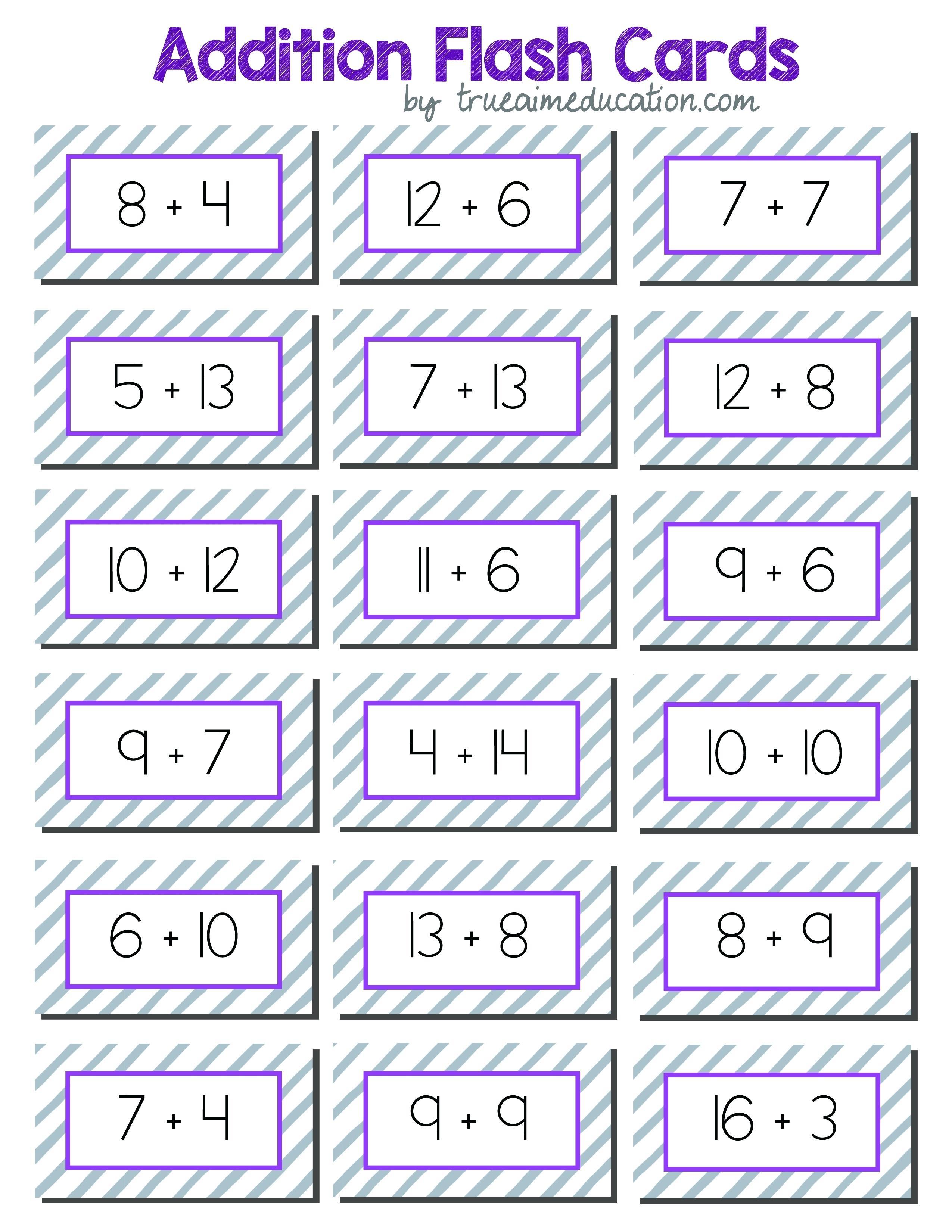 Preschool Flashcards Math Addition – Mymaui.club - Free Printable Addition Flash Cards