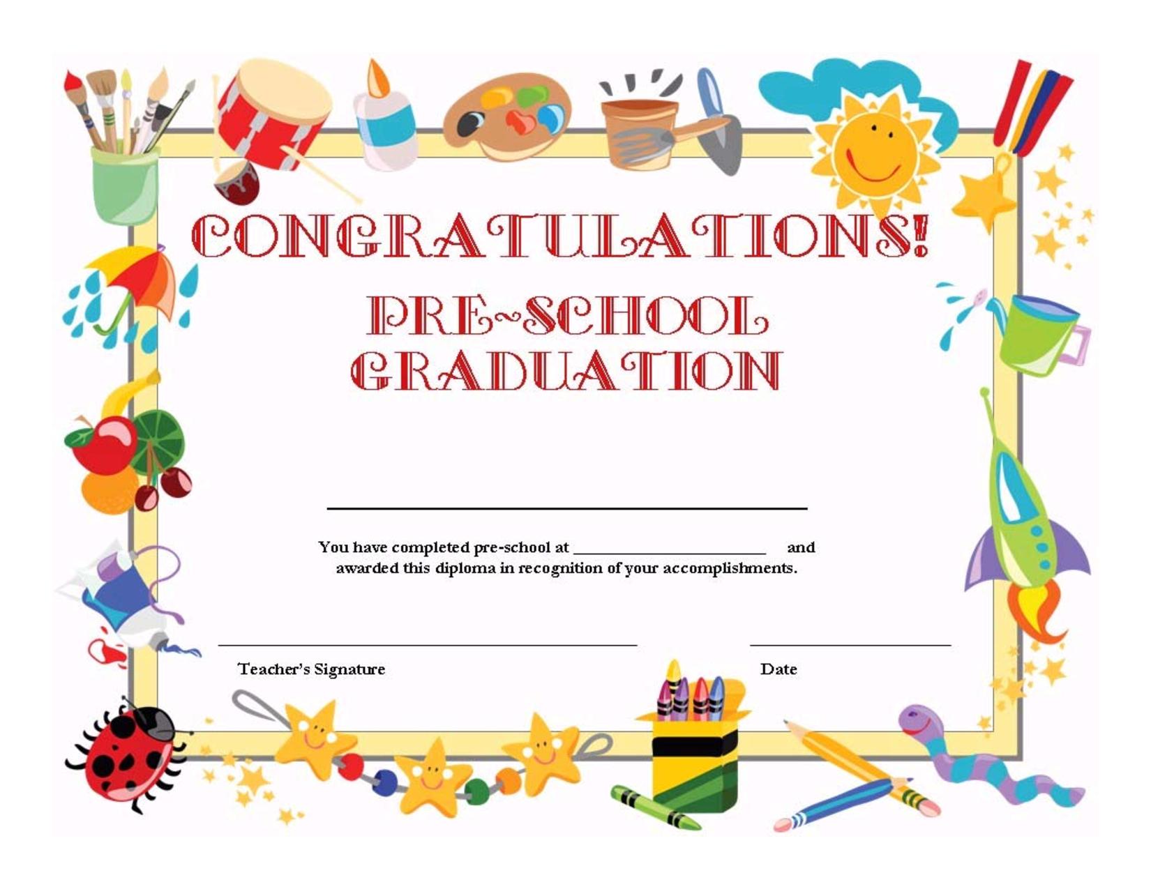 Preschool Graduation Certificate Template Free   K1,2,3 Graduation - Free Printable Children's Certificates Templates
