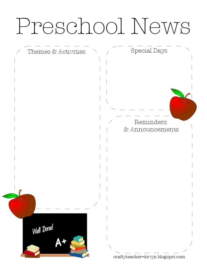 Preschool Newsletter Template 2 | Teaching Ideas | Preschool - Free Printable Preschool Newsletter Templates