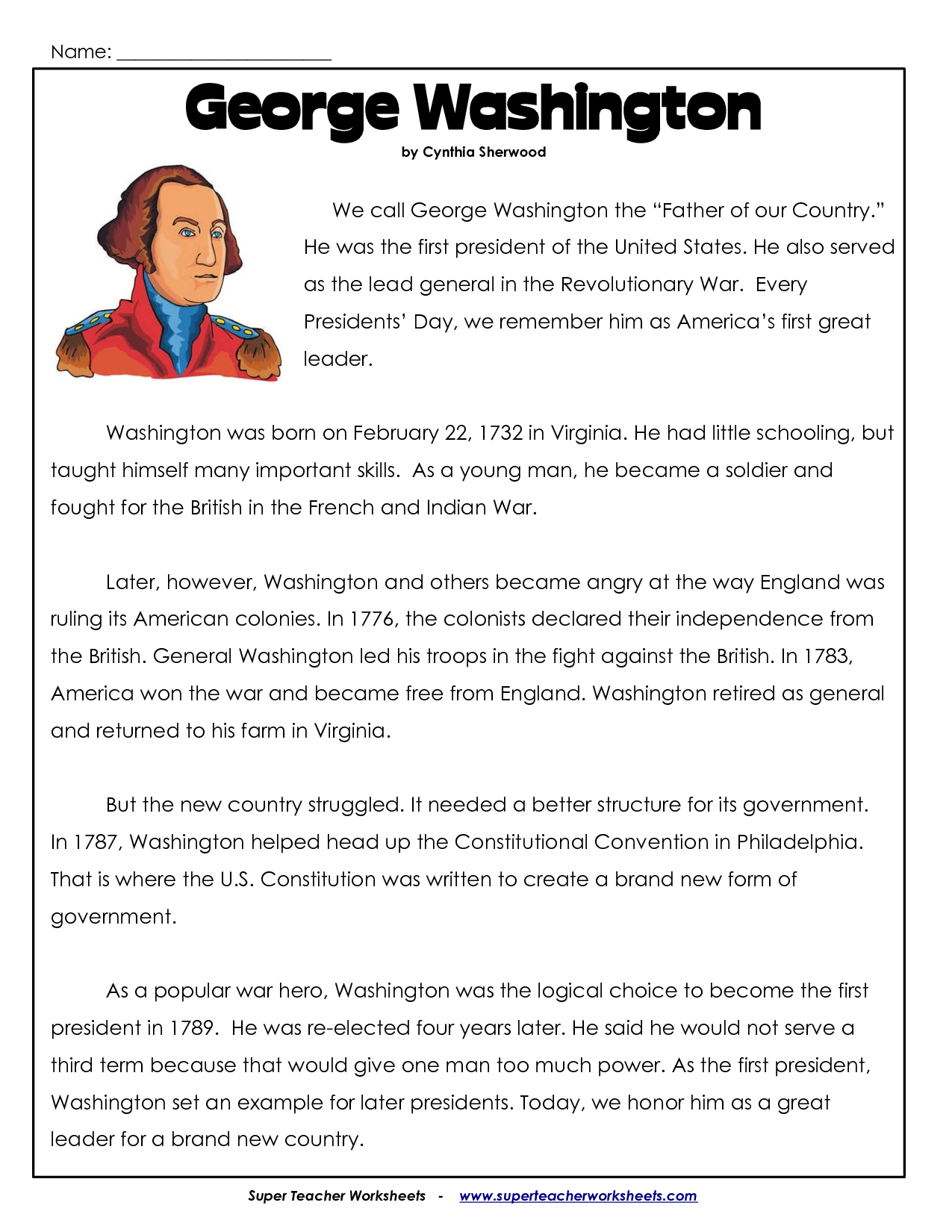President's Day Coloring Worksheet | George Washington Worksheets - Free Printable Presidents Day Worksheets