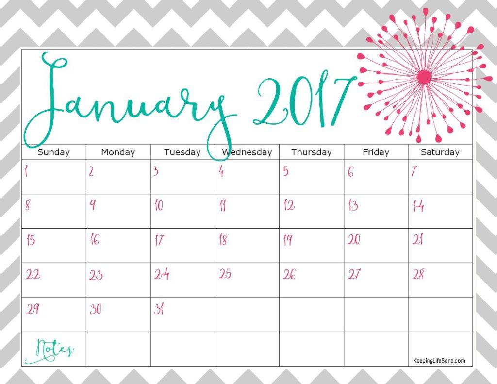Pretty Printable Calendar 2017 - Printable Calendar & Birthday Cards - Free Cute Printable Planner 2017