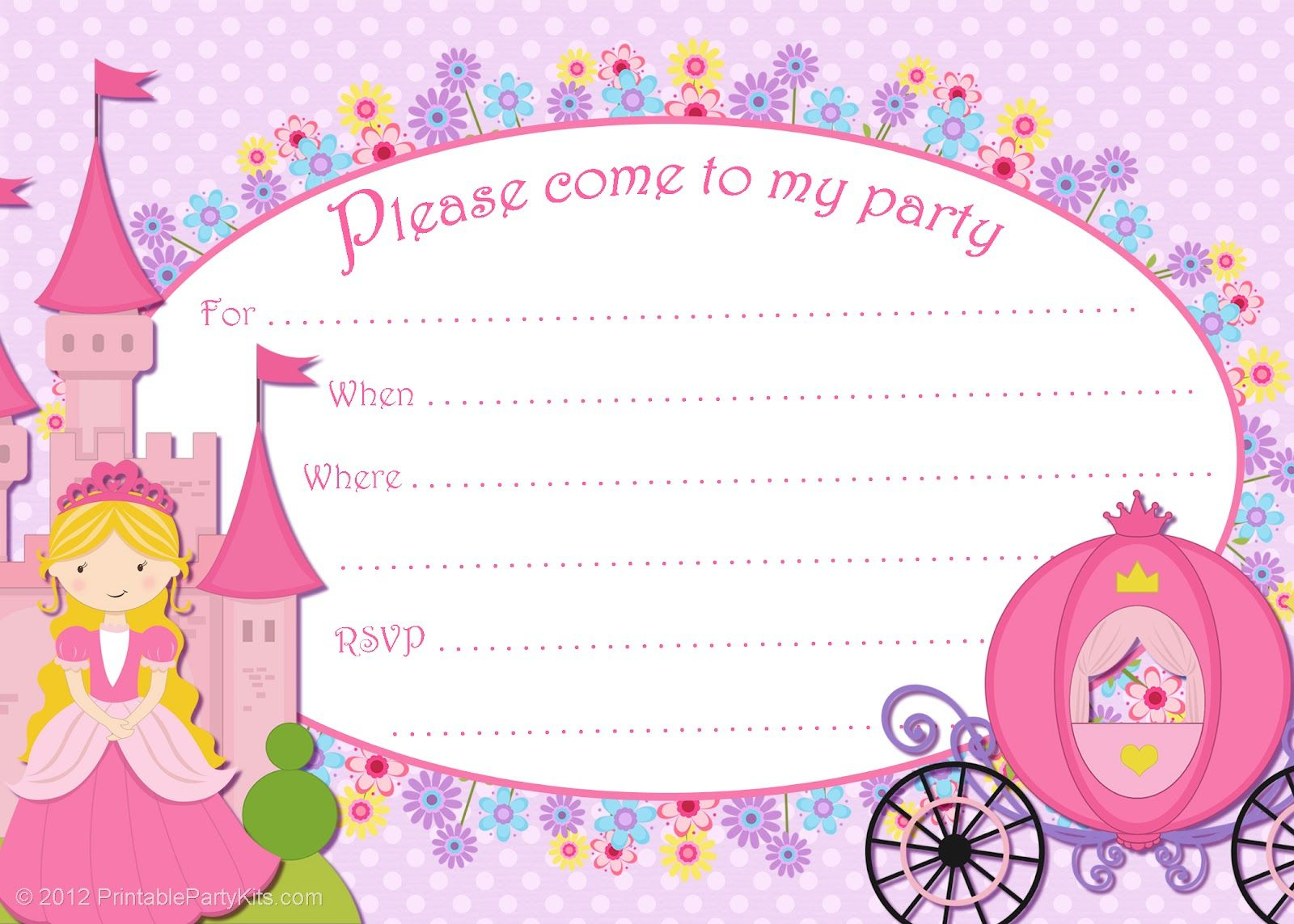 Princess Birthday Invitation Card Free Printable Free Printable - Free Printable Princess Invitation Cards