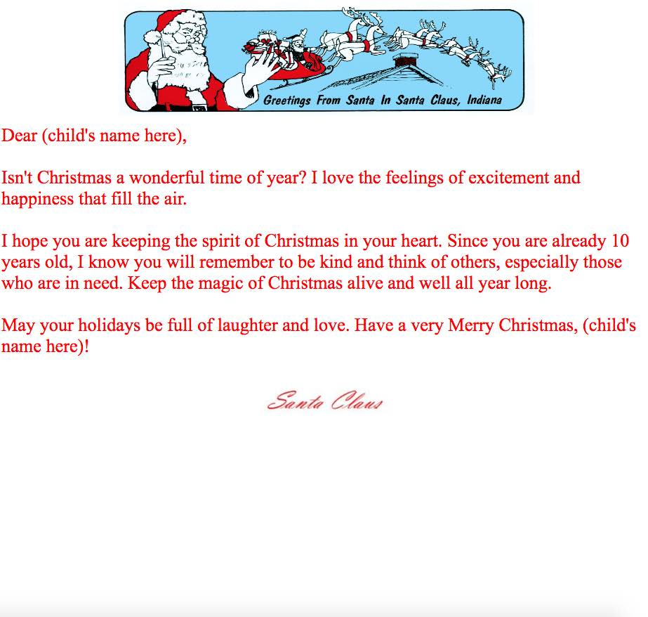 Print At Home Letters From Santa | Santa Claus Museum - Free Personalized Printable Letters From Santa Claus