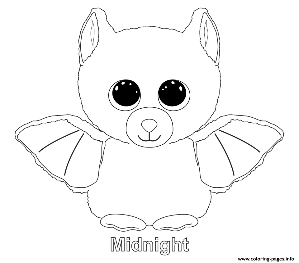 Print Midnight Beanie Boo Coloring Pages | Embroidery Patterns - Free Printable Beanie Boo Coloring Pages