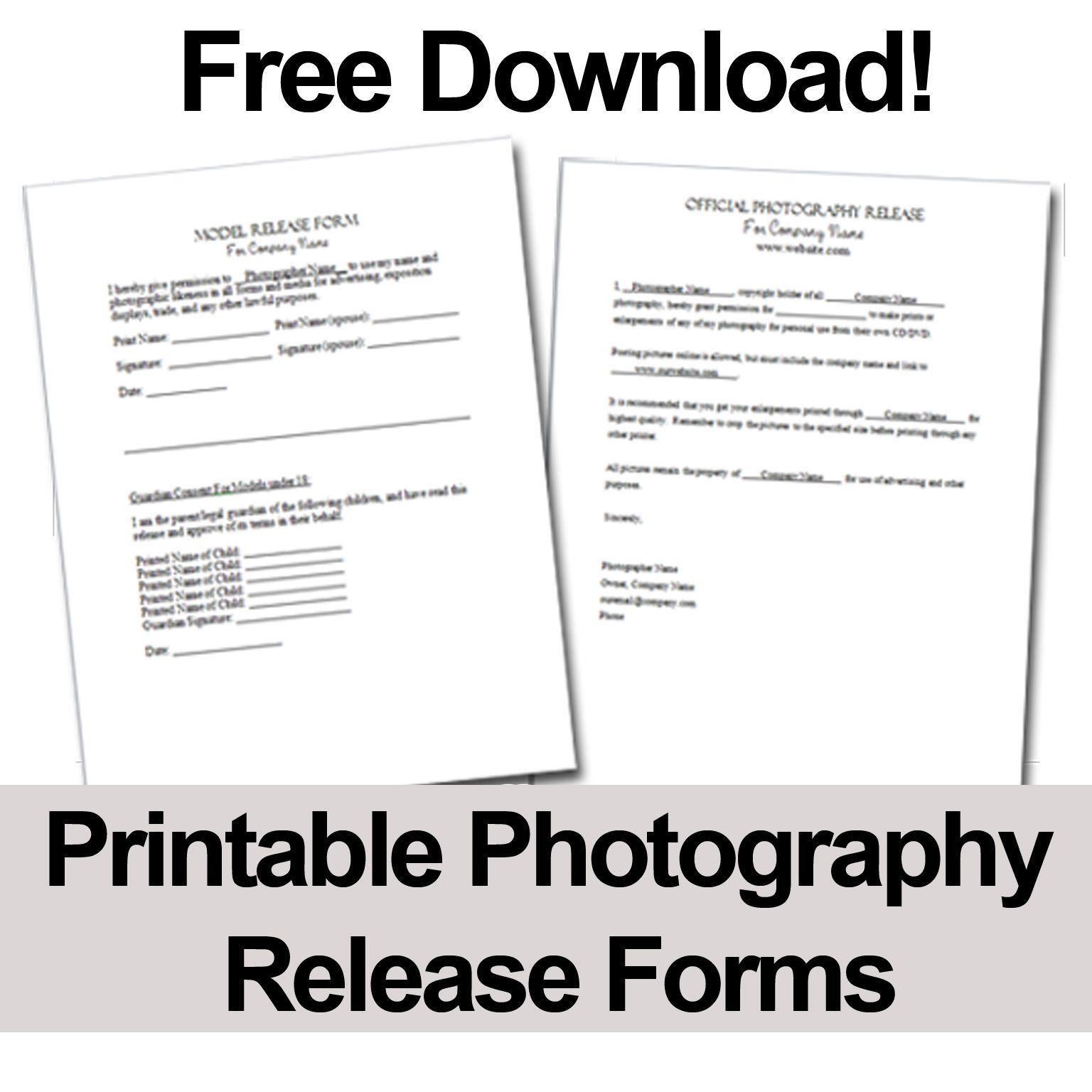 Print These Free Photography Release Forms To Give Your Clients - Free Printable Photo Release Form