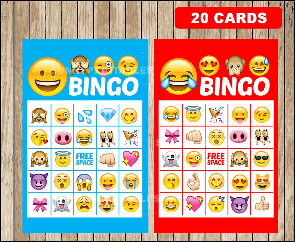 Printable 20 Emoji Bingo Cards Printable Emojis Bingo Game | Etsy - Free Emoji Bingo Printable