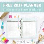 Printable 2017 Planner!   Sweet Anne Designs   Free 2017 Printable