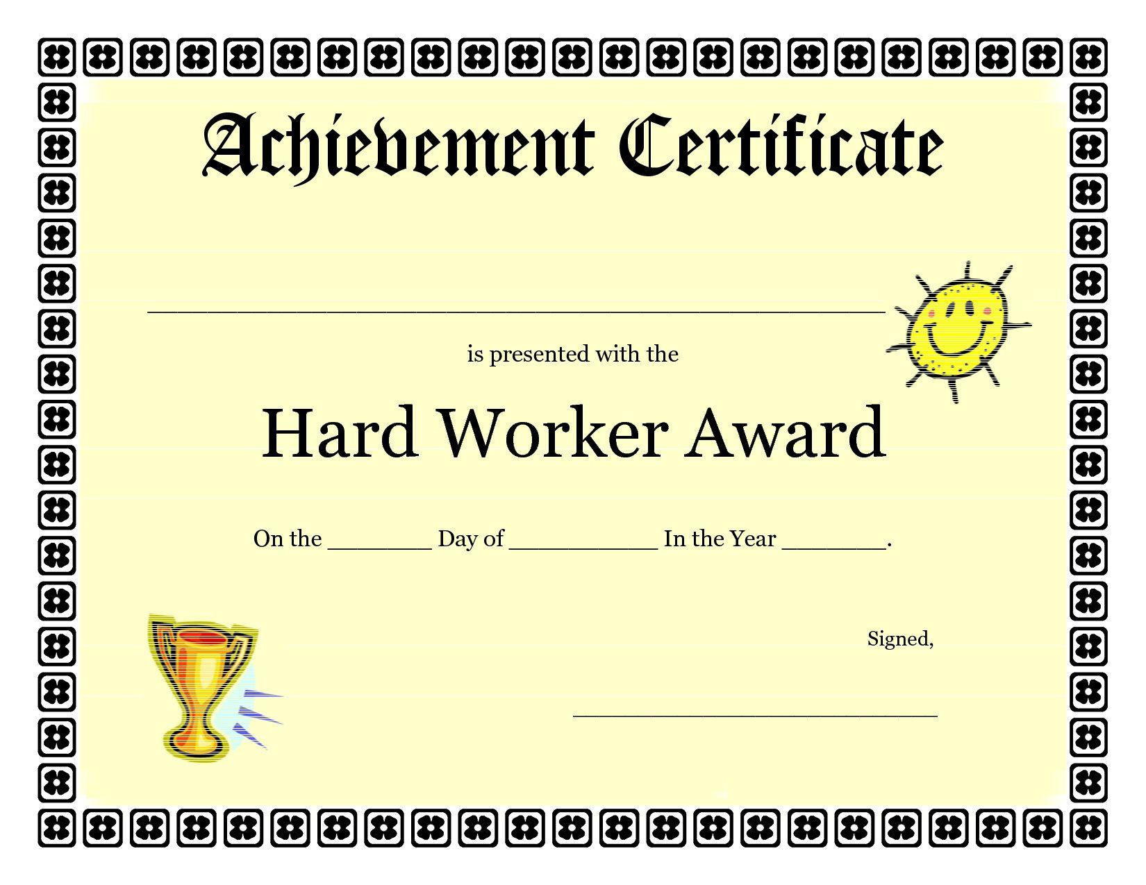 Printable Achievement Certificates Kids | Hard Worker Achievement - Free Printable Honor Roll Certificates Kids