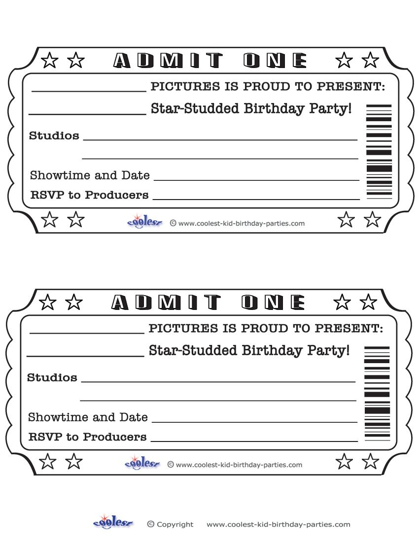Printable Admit One Invitations Coolest Free Printables | Weddeng - Free Printable Movie Ticket Birthday Party Invitations