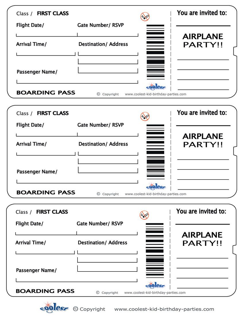 Printable Airplane Boarding Pass Invitations - Coolest Free - Free Printable Airplane Template