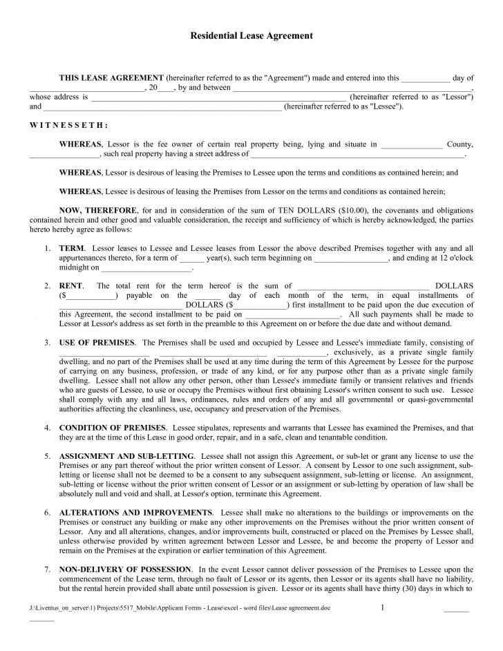 Free Printable Residential Rental Agreement Forms