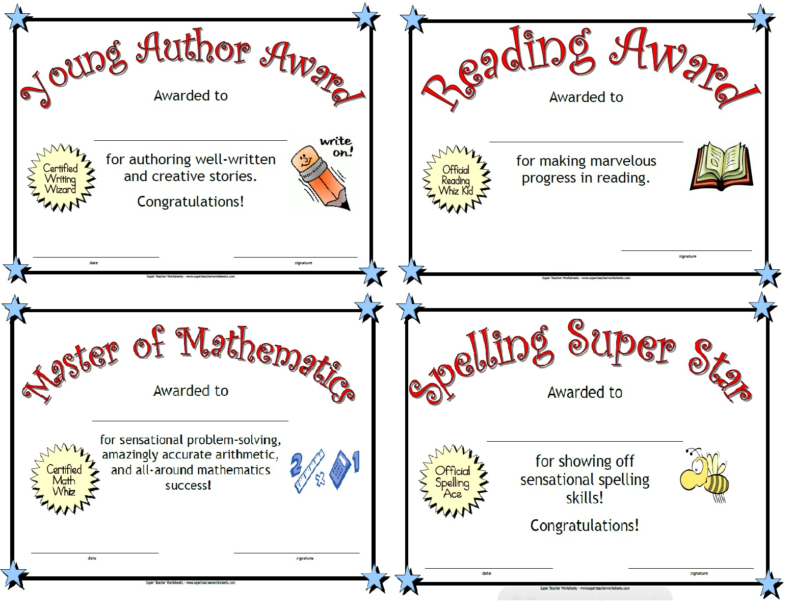 Printable Awards - Free Printable Award Certificates For Elementary Students