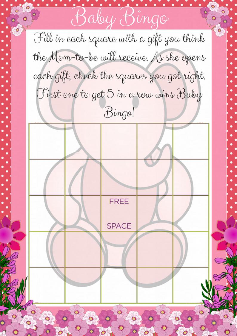 Printable Baby Shower Bingo Game - Elephant Theme - Printable Baby Shower Bingo Games Free