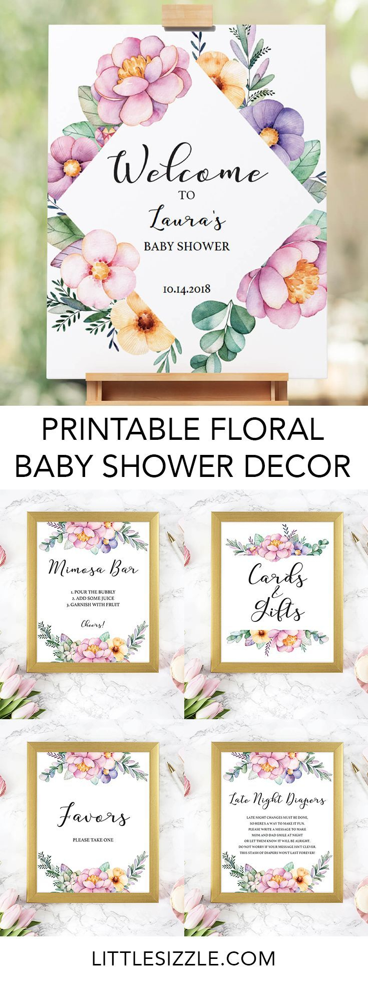 Printable Baby Shower Floral Decorations | Baby Showers & Gender - Free Printable Baby Shower Table Signs