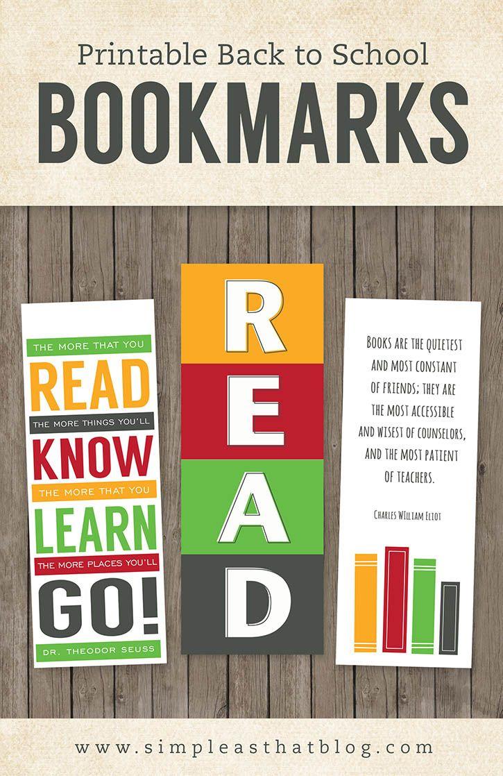 Printable Back To School Bookmarks | Teacher Freebies And Downloads - Free Printable Bookmarks For Libraries
