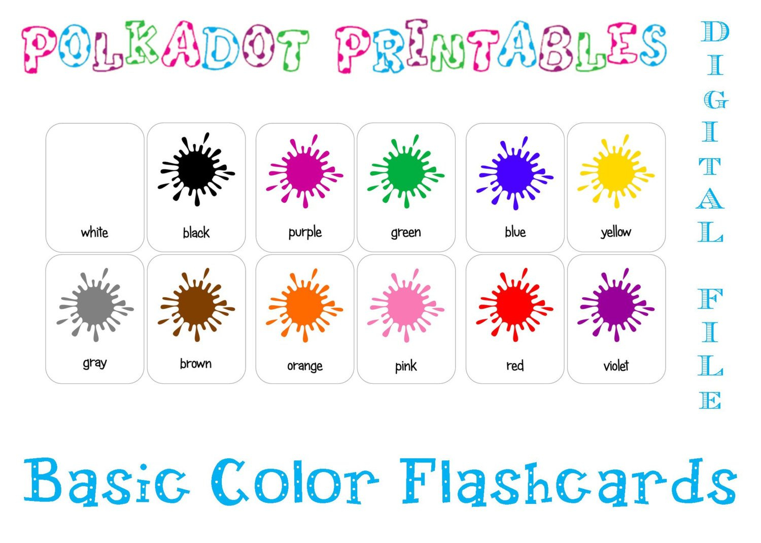 Printable Basic Color Paint Splash Flashcards Set Of 12 | Etsy - Free Printable Colour Flashcards