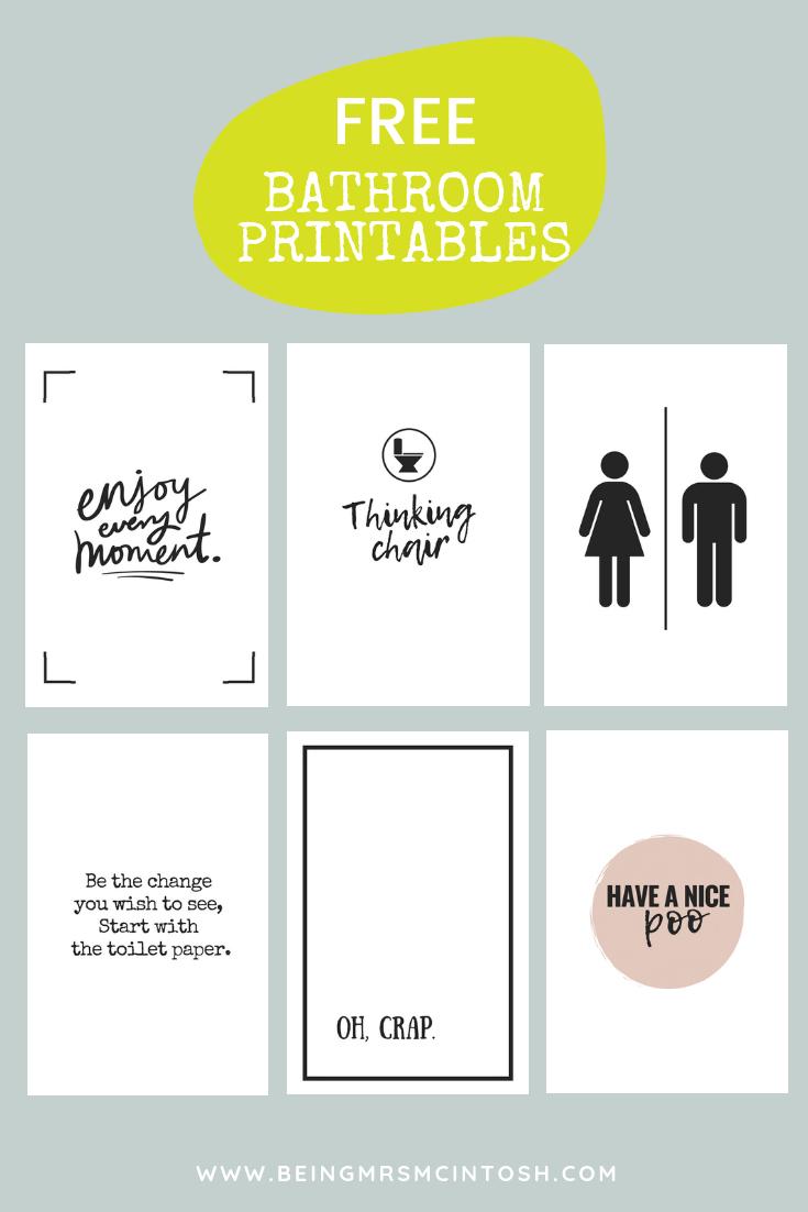 Printable Bathroom Signs   Being Mrs Mcintosh - Free Printable Bathroom Signs