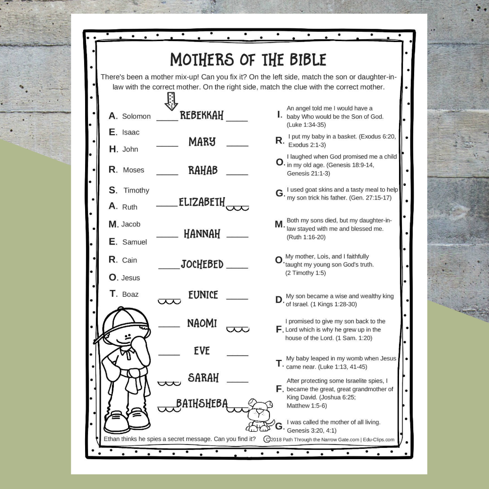 Printable Bible Activities Archives - Path Through The Narrow Gate - Free Printable Bible Games For Kids