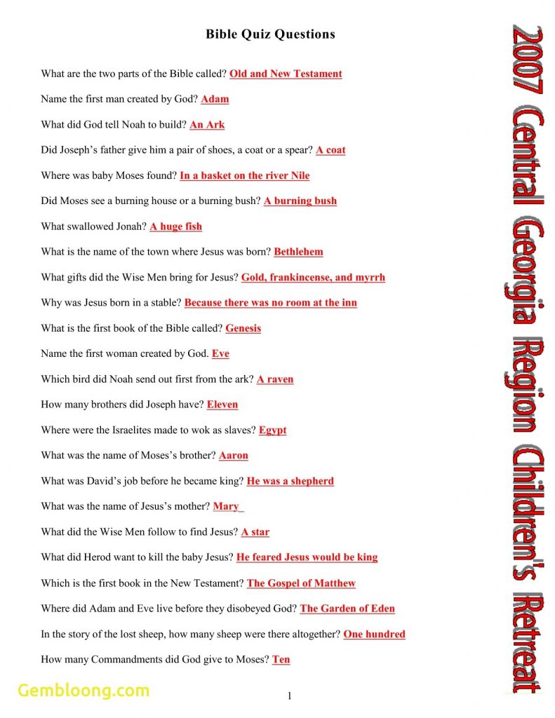 Printable Bible Quiz Questions And Answers | Download Them Or Print - Free Bible Questions And Answers Printable