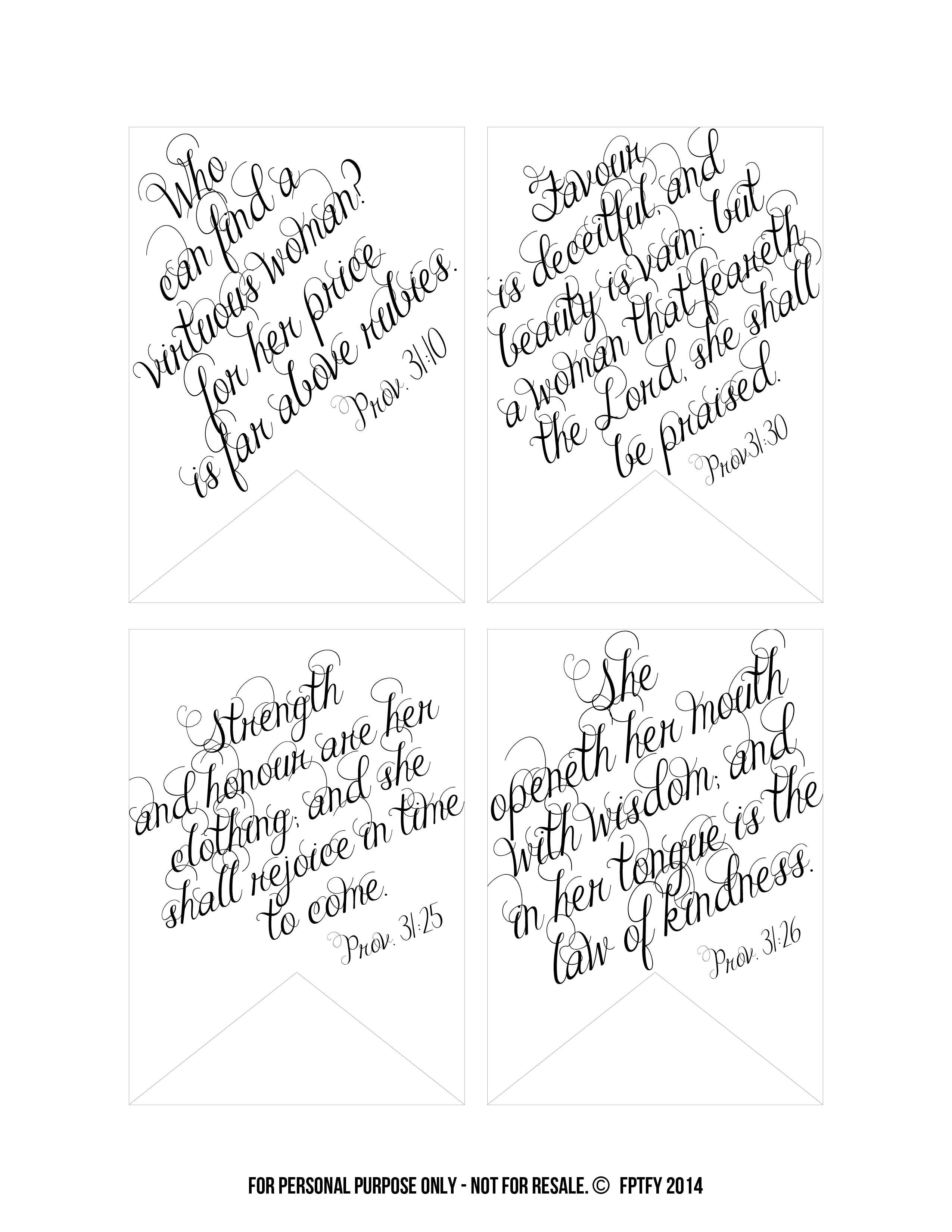 Printable Bible Verses: Proverbs 31 Tags - Free Pretty Things For You - Free Printable Scripture Verses