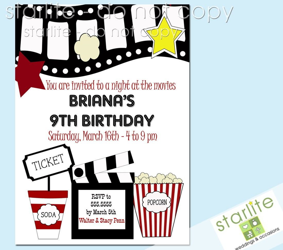 Printable Birthday Party Invitations Movie Theme | Movie Party - Movie Birthday Party Invitations Free Printable