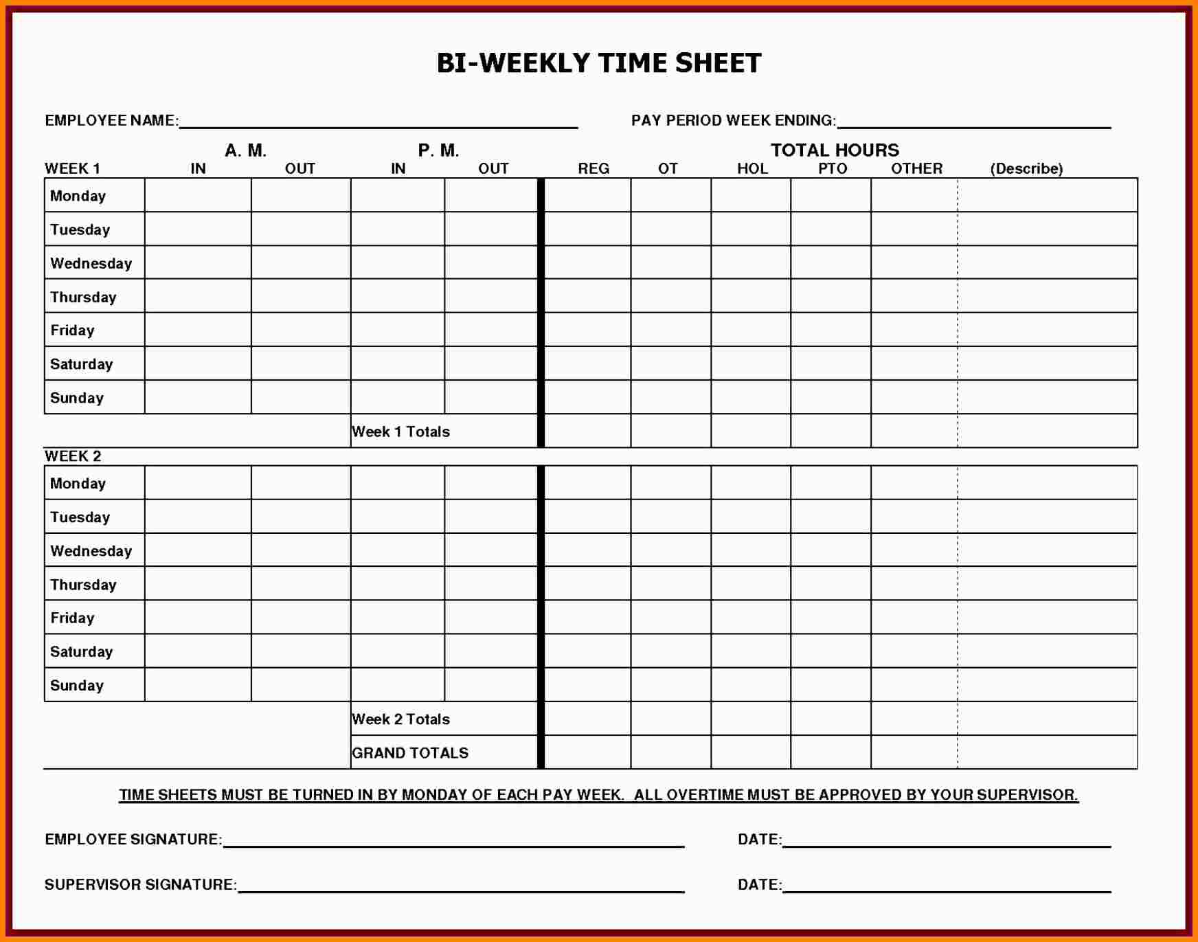 Printable Blank Weekly Timesheet Template - 18.9.hus-Noorderpad.de • - Monthly Timesheet Template Free Printable