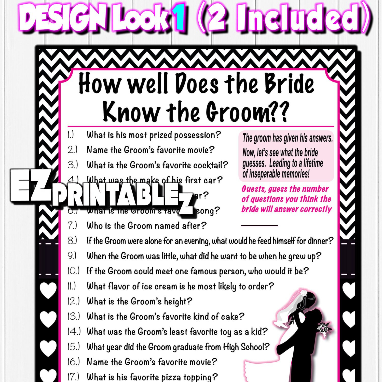 Printable Bridal Shower Game How Well Does The Bride Know The Groom - How Well Does The Bride Know The Groom Free Printable