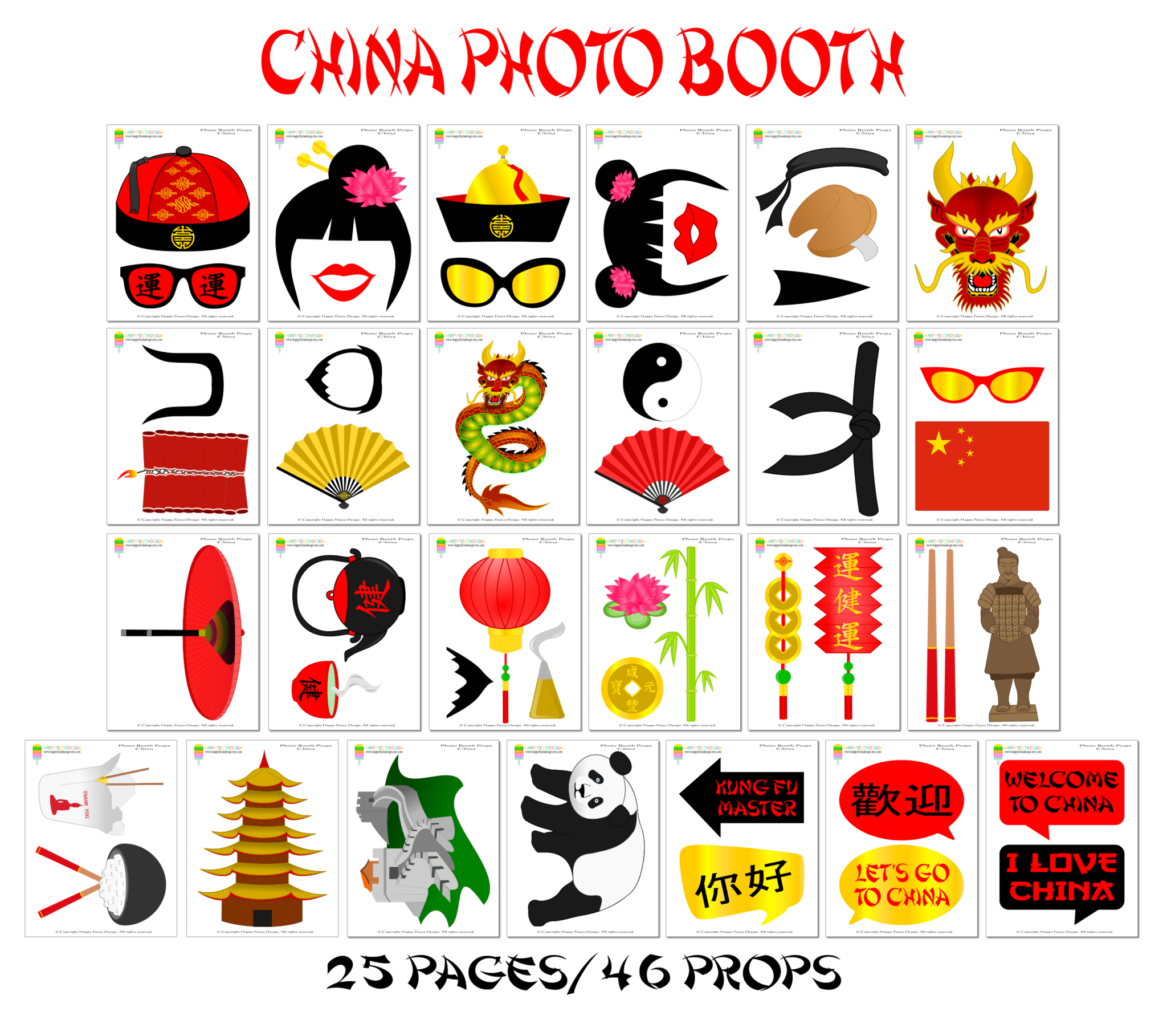 Printable China Photo Booth Props/ Chinese Photo Props | Printable - Free Printable 70's Photo Booth Props