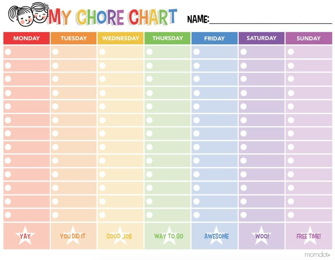 Printable Chore Calendar Free Printable Chore Chart Momdot - Free Printable Chore Charts