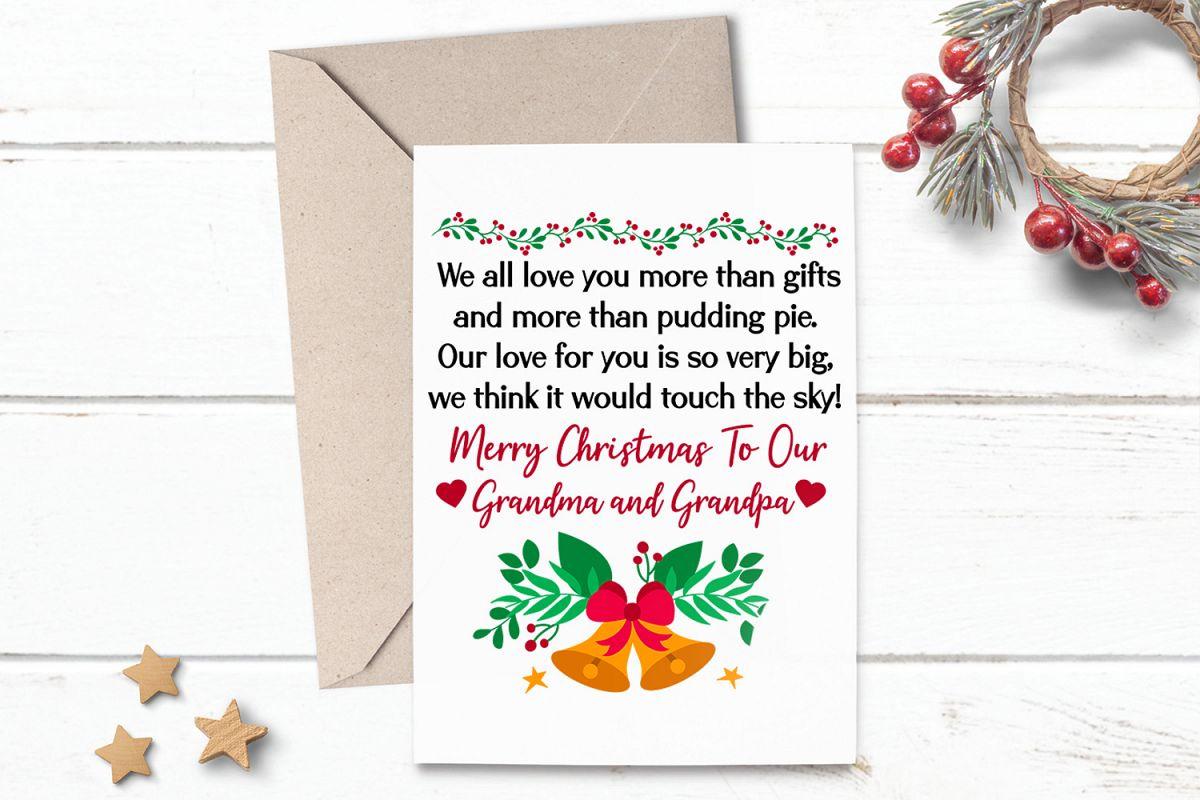 Printable Christmas Card Greeting For Grandma Grandpa - Christmas Cards For Grandparents Free Printable