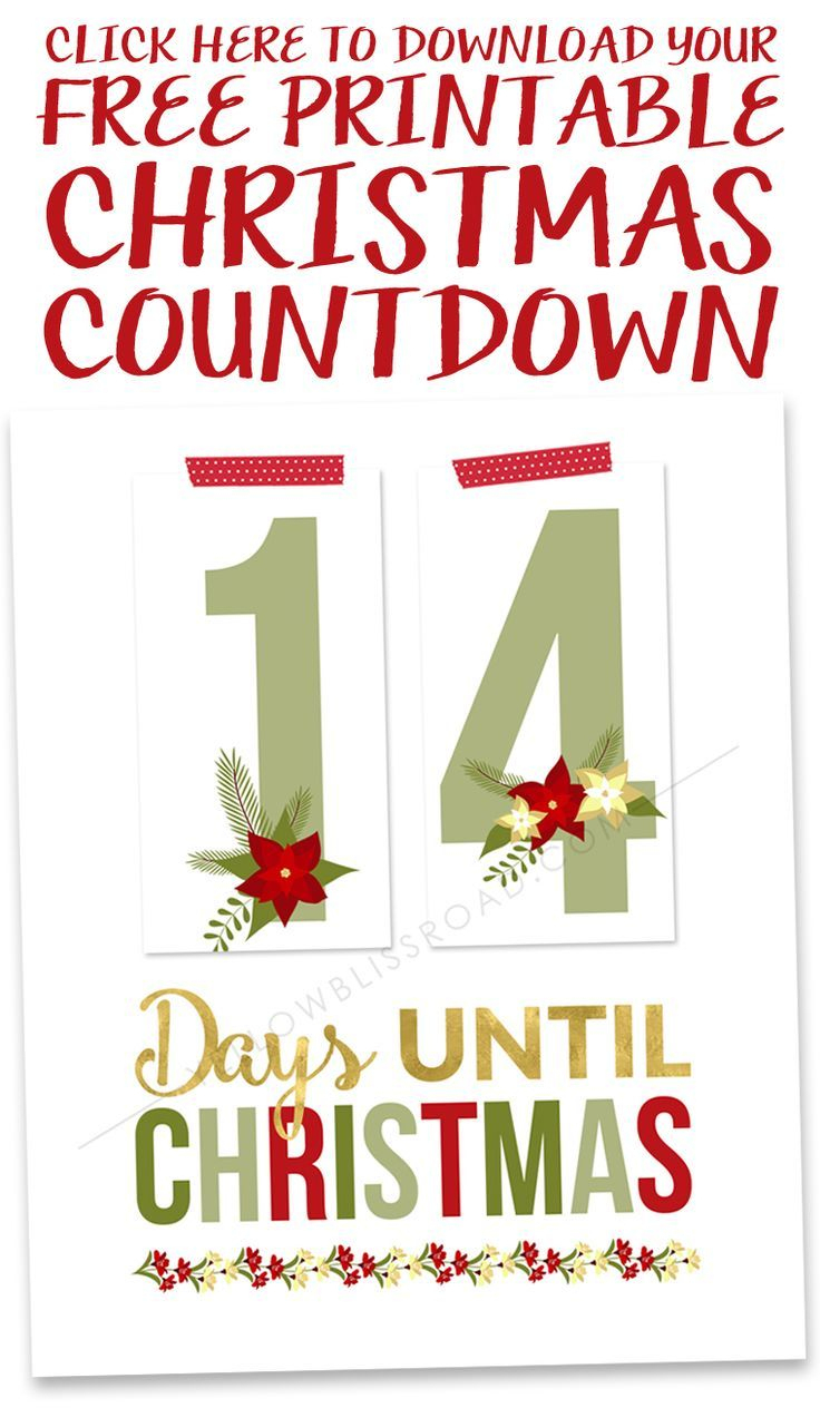 Printable Christmas Countdown | Holidays: Christmas | Pinterest - Christmas Countdown Free Printable