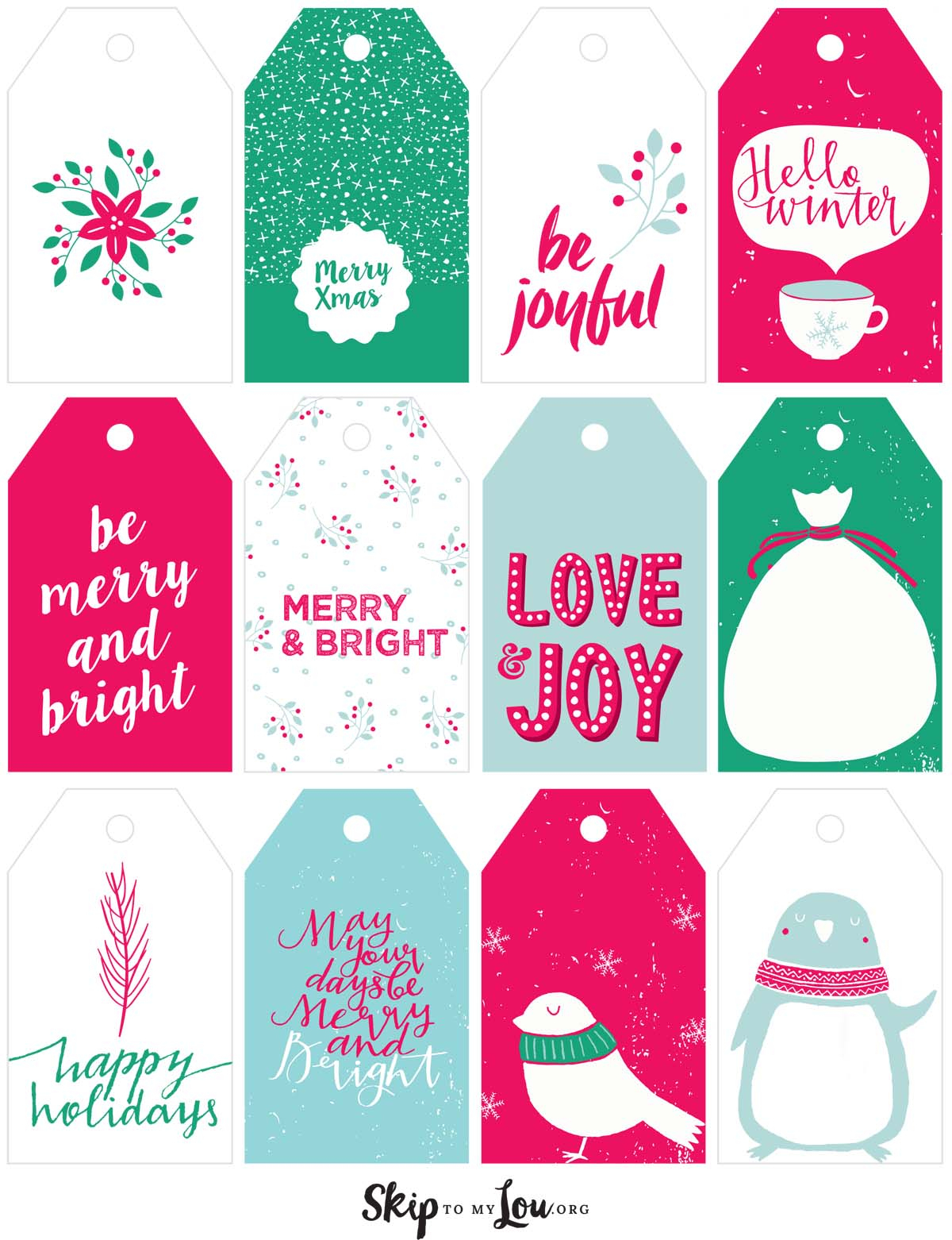 Printable Christmas Gift Tags | Skip To My Lou - Free Printable Happy Holidays Gift Tags