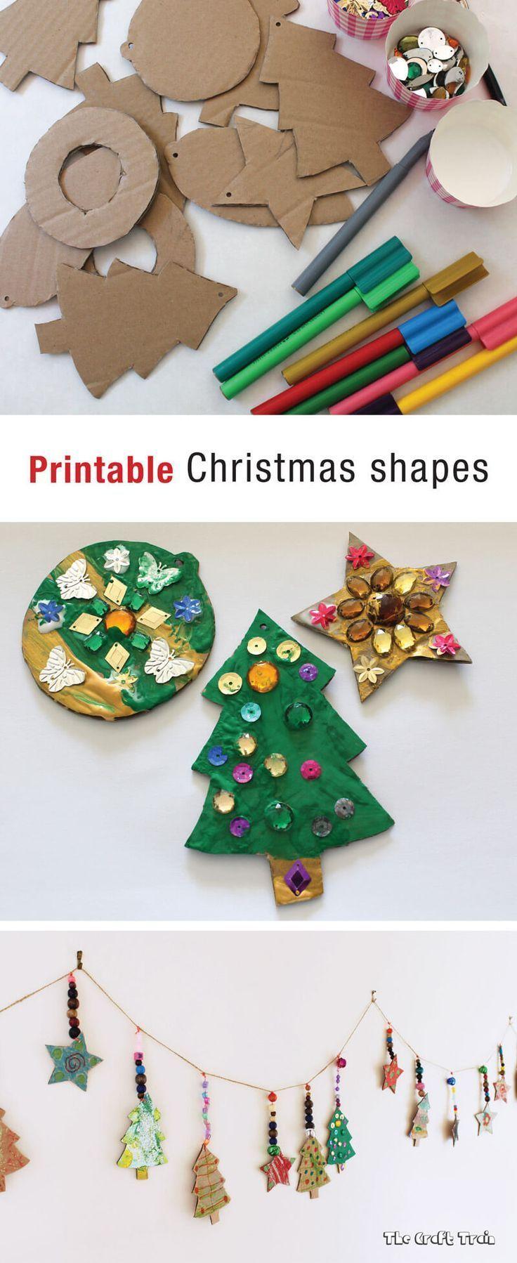 Printable Christmas Shapes | Diy | Christmas, Christmas Crafts Og - Free Printable Christmas Cutouts