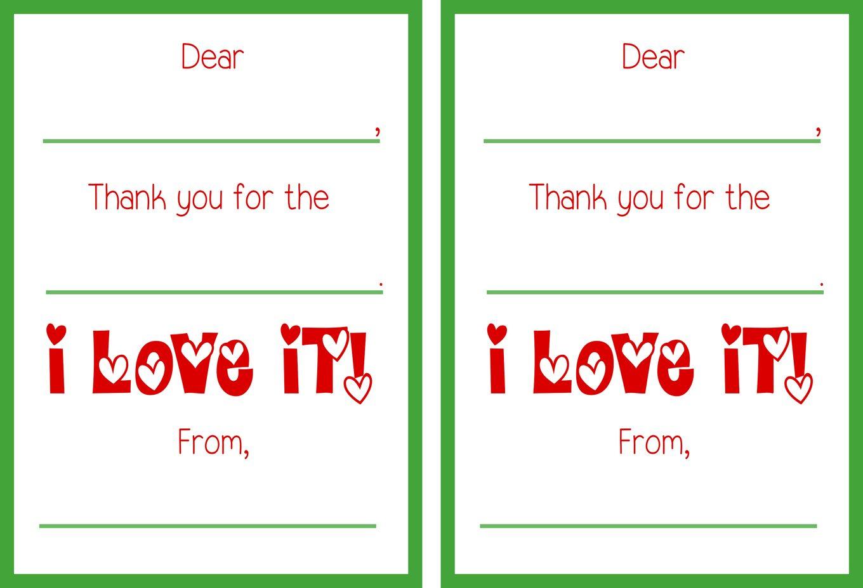 Printable Christmas Thank You Cards - Free Printable Thank You