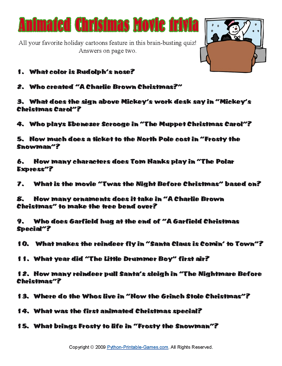 Printable Christmas Trivia Questions Answers    Quiz For Kids - Free Christmas Picture Quiz Questions And Answers Printable