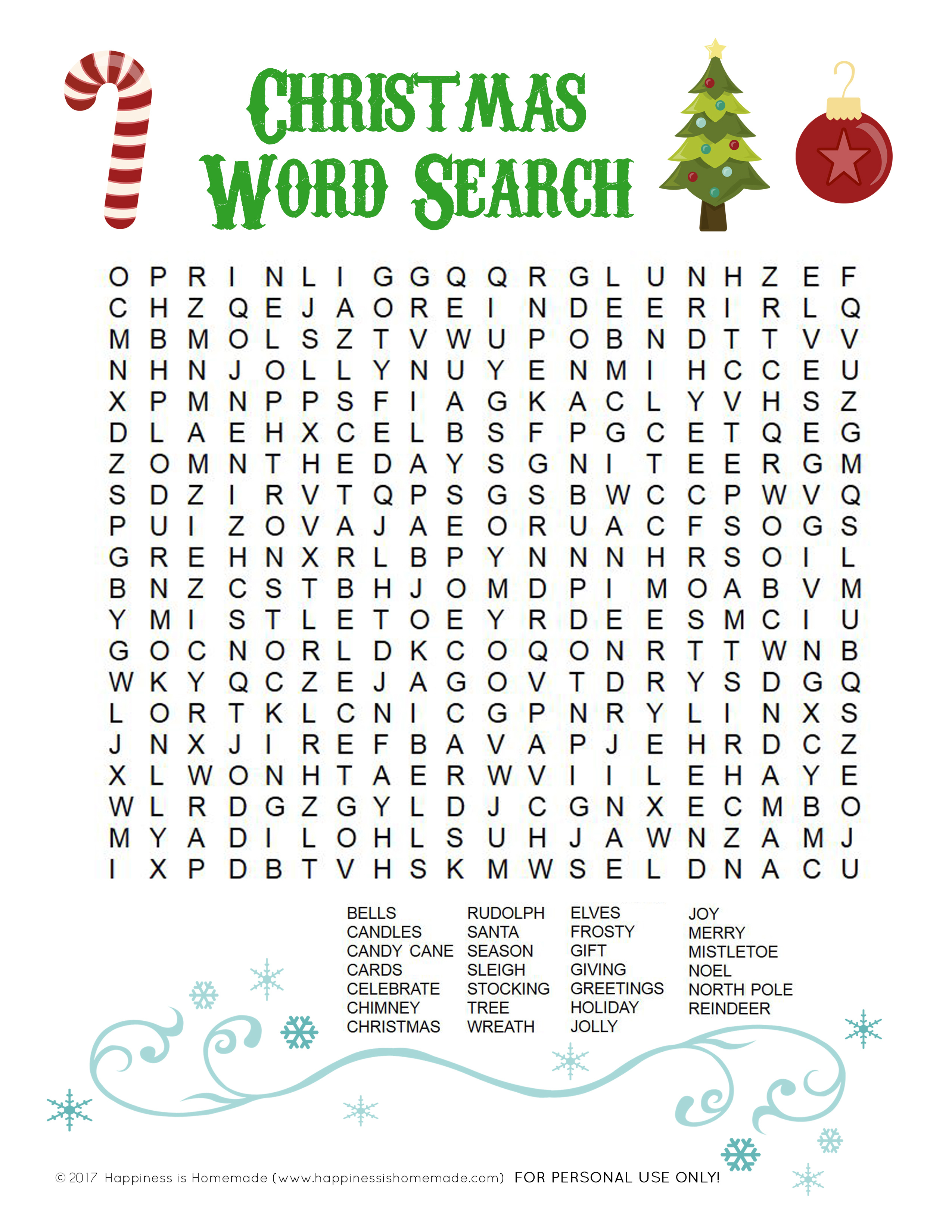 Printable Christmas Word Search For Kids & Adults - Happiness Is - Free Printable Christmas Word Search Pages