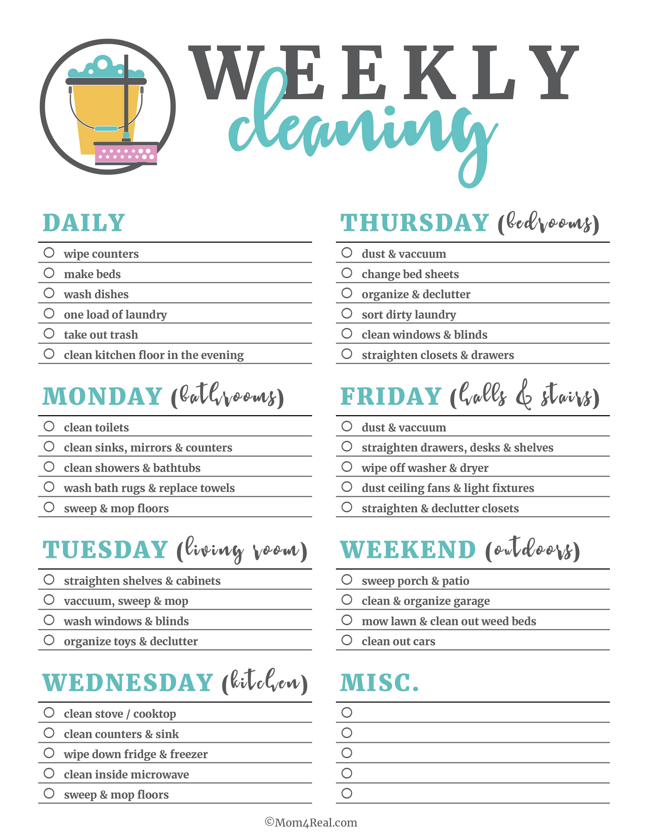 Printable Cleaning Checklists For Daily, Weekly And Monthly Cleaning - Free Printable Housework Checklist