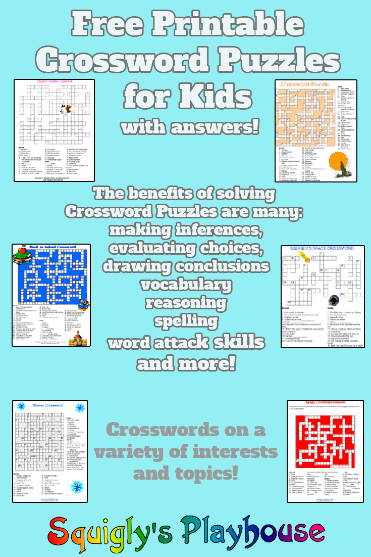 Printable Crossword Puzzles For Kids At Squigly's Playhouse - Free Printable Crossword Puzzles For Kids